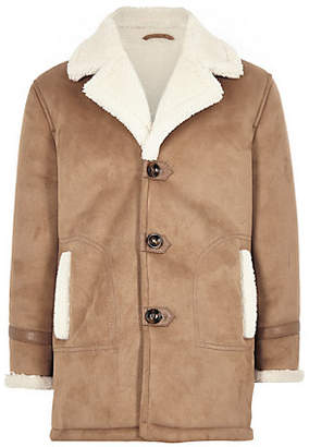 River Island Boys light brown shearling trim jacket