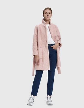 Ganni Boucle Wool Coat in Silver Pink