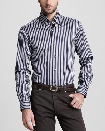 Ermenegildo Zegna Striped Sport Shirt, Navy/Cognac