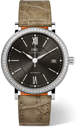 IWC SCHAFFHAUSEN - Portofino Automatic 37mm Stainless Steel, Alligator And Diamond Watch - Mushroom