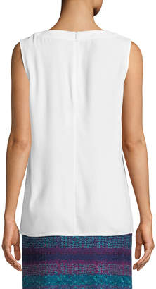 St. John Gathered-Neck Sleeveless Crepe Blouse