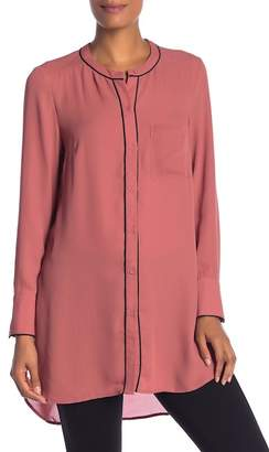 Daniel Rainn DR2 by Piped Hi-Lo Button Down Tunic Blouse
