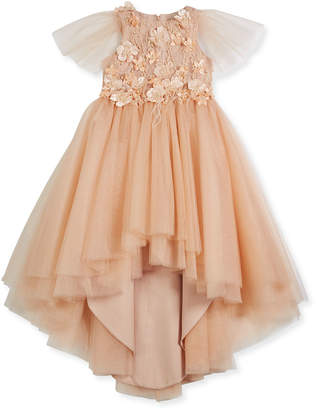 Little Miss Aoki Flower High-Low Tulle Dress, Size 4-6