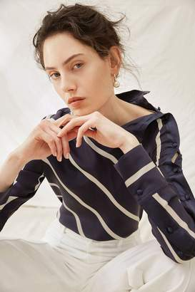 Genuine People Striped Silk Button Sleeve Blouse
