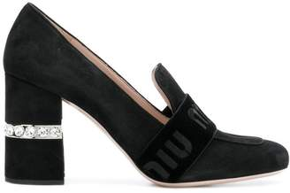 Miu Miu crystal heel logo band loafers