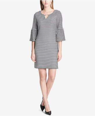 Calvin Klein Lantern-Sleeve Keyhole Sheath Dress