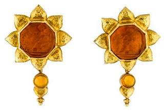 Elizabeth Locke 18K Glass Intaglio & Citrine Convertible Earrings