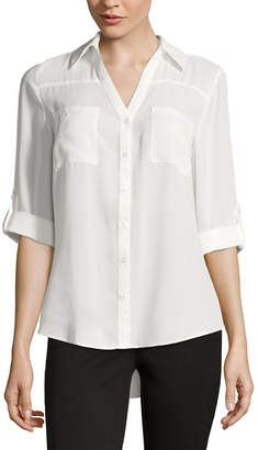 BY AND BY by&by 3/4-Sleeve Button-Up Woven Shirt - Juniors