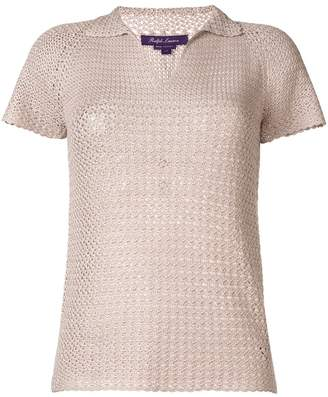 Ralph Lauren short-sleeve crochet polo top