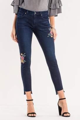 Miss Me Dark-Wash Floral Ankle-Skinny