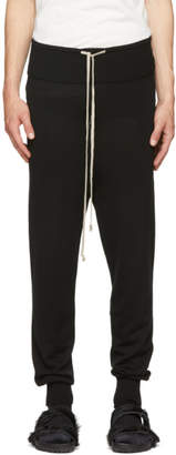 Rick Owens Black Merino Prisoner Drawstring Lounge Pants