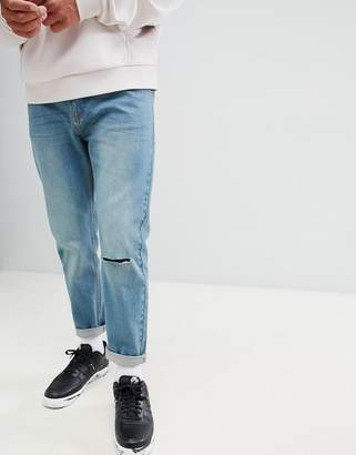 Bellfield Carrot Fit Jeans With Knee Rip