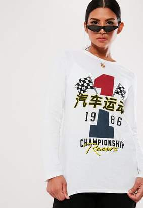 Missguided Long Sleeve Graphic T Shirt