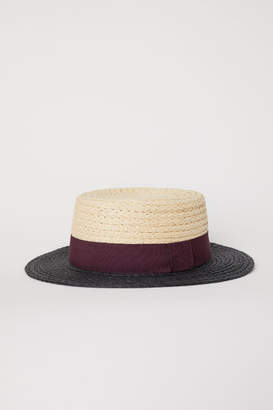 H&M Color-block Straw Hat - Red