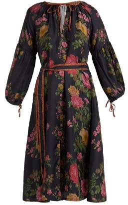 D'ascoli - Russia Floral Print Balloon Sleeve Silk Dress - Womens - Black Print