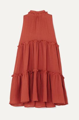 Lisa Marie Fernandez Erica Ruffled Tiered Linen-blend Mini Dress - Papaya
