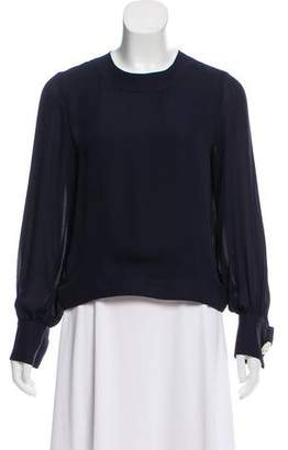 Oscar de la Renta Silk Long Sleeve Blouse
