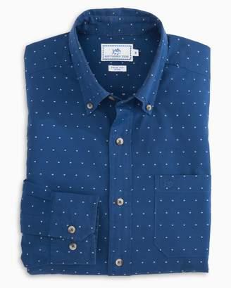 Southern Tide Dot Clip Indigo Sport Shirt