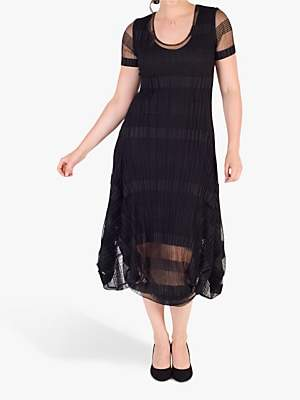chesca Chesca Sheer & Stripe Crush Pleat Drape Dress