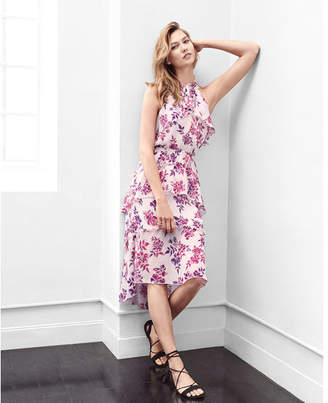 Express floral print tiered halter neck midi dress $79.90 thestylecure.com