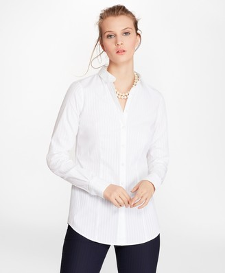 Brooks Brothers Petite Tailored-Fit Diamond-Stripe Dobby Cotton Shirt