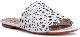 Alaia White leather laser-cut slide sandals