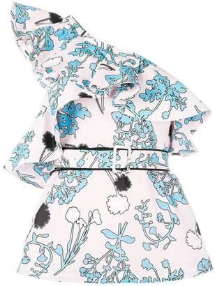 Self-Portrait one-shoulder floral top