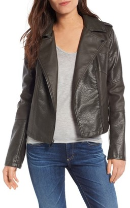 Women's French Connection Mix Texture Faux Leather Moto Jacket $138 thestylecure.com