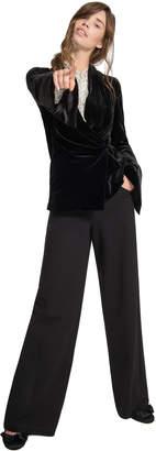 Max Studio printed crinkle silk chiffon blouse