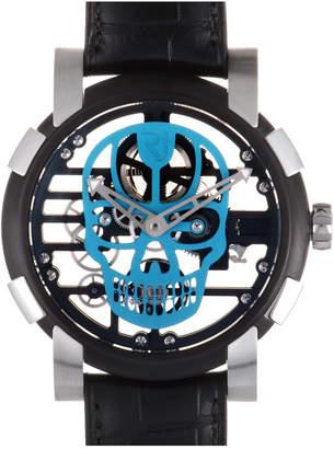 Romain Jerome Men's Skylab 48 Speed Metal Cyan Skull Watch