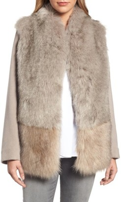 Women's Elie Tahari Maddie Wool Blend Sleeve Faux Fur Jacket $395 thestylecure.com