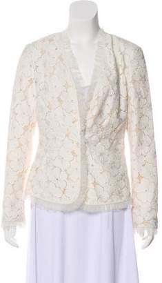 Lafayette 148 Lace-Accented V-Neck Blazer w/ Tags