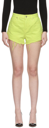 Alexander Wang Yellow Denim Bite Shorts