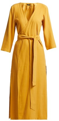 Haight Heart V Neck Wrap Crepe Midi Dress - Womens - Dark Yellow