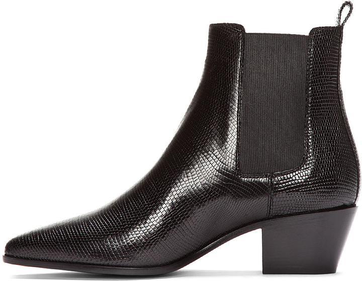 Saint Laurent Black Lizard-Embossed Chelsea Boots