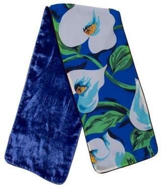 Dolce & Gabbana Floral Silk and Velvet Scarf w/ Tags Blue Floral Silk and Velvet Scarf w/ Tags