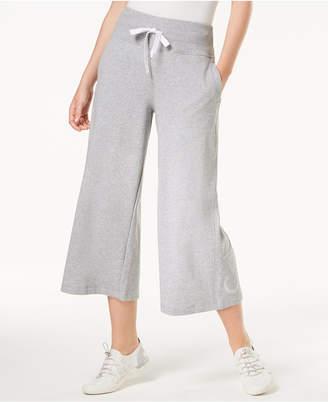 Calvin Klein High-Rise Wide-Leg Terry Cropped Sweatpants