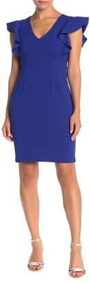 Eliza J V-Neck Flutter Sleeve Sheath Dress (Petite)