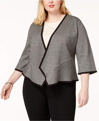 Alfani Plus Size Open-Front Peplum Cardigan, Created for Macy's