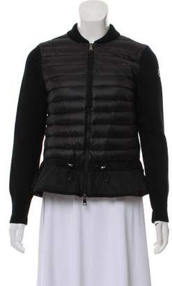 Moncler Knit-Accented Down Zip-Up Jacket
