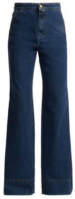 Loewe High Rise Wide Leg Flared Jeans - Womens - Denim