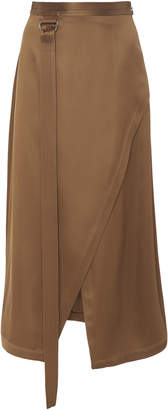 Sally LaPointe Asymmetric Wrap-Effect Satin Midi Skirt Size: 6
