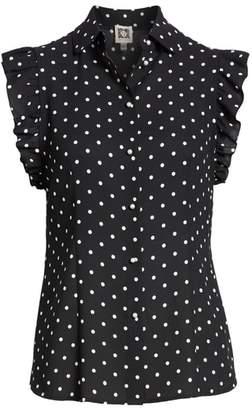 Anne Klein Polka Dot Ruffle Sleeve Blouse