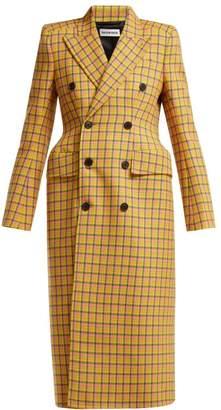 Balenciaga Hourglass Tartan Virgin Wool Coat - Womens - Yellow Multi