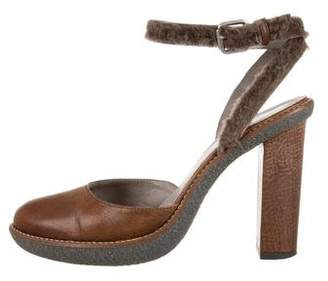 Brunello Cucinelli Leather Shearling-Trimmed Pumps