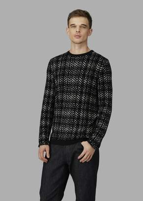 Giorgio Armani Tartan And Chevron Jacquard Sweater