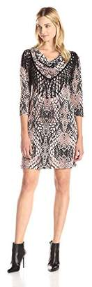 MSK Women's 3/4 Sleeve Cowl Neck Fringe Short Dress, Pink/Grey