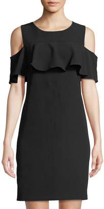 Taylor Cold-Shoulder Ruffled Sheath Dress