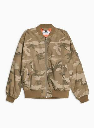 Topman Mens Green Camouflage Print Bomber Jacket