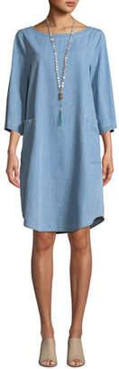 Eileen Fisher 3/4-Sleeve Drapey Denim Dress